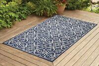 Contemporary Indoor / Outdoor Sisal Area Rug for Garage, Garden Kitchen | Navy