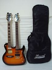 6/6 String Acoustic Electric Double Neck Guitar, Sunburst with Padded Gig Bag