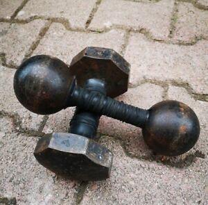 Ancien Vintage Paire Haltères 5 Kg Et 5,2 Kg Musculation Sport Haltérophilie