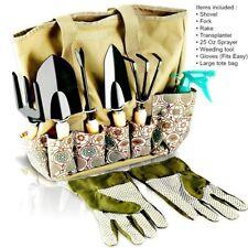 Garden Tools Set Storage Organizer Kit Rake Shovel Trowel Weeder Sprayer Gloves