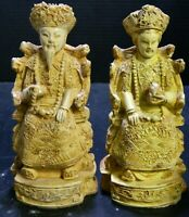 Vintage Ornately Carved Resin Oriental Emperor & Empress Figures Very Good Cond