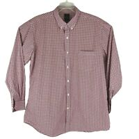 TailorByrd Button Down Front Shirt Red White Plaid 100% Cotton Mens Sz XXL 2XL