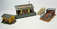 HO scale 3 Track side Structures, built up and detailed. Bachmann Plasticville