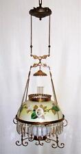 Antique Victorian Hanging Oil/Kerosene Lamp w Morning Glory Shade & Clarks Font