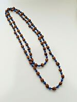Vintage single strand beaded necklace with blue seed beads and faux 'nut' beads