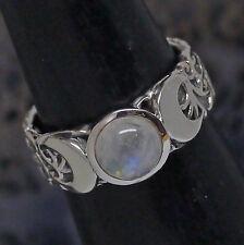 Echte Edelstein-Ringe im Band-Stil aus Sterlingsilber mit Mondstein