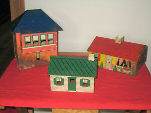 Vintage Skyline Tin Litho Buildings - Lot of 3, 2 are rusty