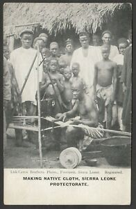 Postcard Sierra Leone Protectorate Africa early view Making Cloth by Lisk Carew
