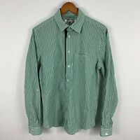 Nana Judy Mens Shirt Medium Green Striped Long Sleeve Collared Button Up