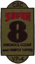 USN PATROL SQUADRON FOUR (VP-4) PATCH - COMBAT AIR CREW 8 - SUPER 8 - SUBDUED