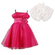 Niña Rosa Fucsia Fiesta Vestido Con Marfil Bolero Imitación Piel 12 Meses A 8