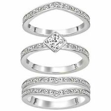 Swarovski Alpha Ring Set of 3 Rings Size 6 Crystal Authentic 5221378