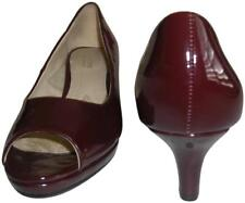 NATURALIZER Women's Burgundy Patent Peep Toe Hanning Pumps Shoes Size 6