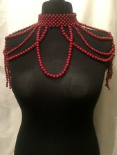 Statement Chunky Long Big Large Oversized Giant Red Bead Beaded Choker Necklace