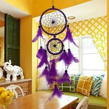 Handmade Dream Catcher With Feather Wall Hanging Decoration Ornament Purple Gift