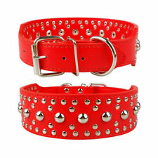 """PU Leather Dog Collar Rivets Studs Pit Bull Terrier Pets Small 1.4"""" WIDE Red"""