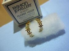 Vintage Avon Filigree Hoop Pierced Ear-Rings, Goldtone with surgical steel posts