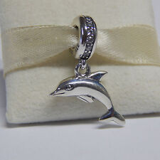 New Authentic Pandora Charm Playful Dolphin 791541CZ Dangle W Tag & Suede Pouch