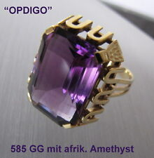 """14 kt. Gelbgoldring mit afrik. Amethyst      """"made in Idar-Oberstein"""""""