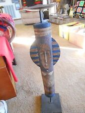 Great CollectIble Handcrafted in Mexican Inca Design-Wood & Metal Candle Stand
