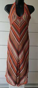 Vintage 1990's Crochet Knit Halter Sun Dress S 8 36 US 4 Backless Karen Millen