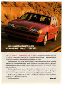 1993 VOLVO 850 Turbo Wagon Vintage Original Print AD - Red car French Canada