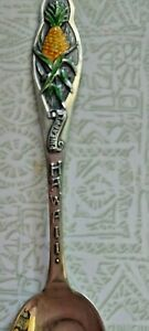 "MAUI Hawaii enameled Pineapple Handle Sterling Silver Souvenir Spoon 4 1/4"""