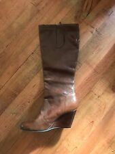 Aldo Women's Chestnut Brown Leather Wedge Boots Size 41 New