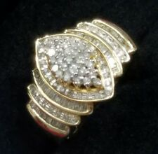 14K YELLOW GOLD STERLING SILVER 5ROW GENUINE 1 CARAT DIAMOND MARQUISE SHAPE RING