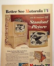 Motorola TV Magazine Print ad 1952 boxing Limed Oak console television