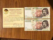 LOTTO 2 BANCONOTE CONSECUTIVE Lire 100000 CARAVAGGIO II TIPO 1995 SPL/SUP