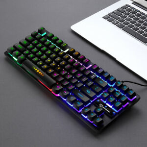 GK-10 Wired 87 Keys Mechanical Gaming Keyboard RGB Backlit for PC Gamer