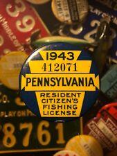New listing 1943 Pennsylvania Fishing License Resident Button