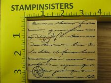 Rubber Stamp Manuscript Background Hero Arts Writing French Stampinsisters #3310