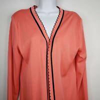 Howard Wolf Escape Open Front Cardigan Sweater Melon Pink Black Size M