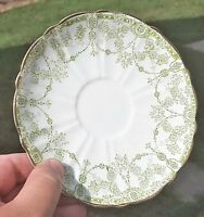 1 BLAIRS China England SAUCER ONLY Green on White Gold Trim Delicate Vintage Vtg
