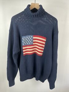 Ralph Lauren Polo Country 100% Wool Hand Knit Flag Turtleneck Sweater SZ L