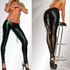 Women Sexy Lace-up Drawstring Leggings Faux Leather Stretch Pencil Trousers