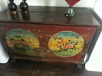 antique wooden Tibetan chest, hand painted