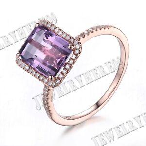 Emerald 9x7mm Purple Amethyst Pave Diamond Engagement Wedding Ring 18k Rose Gold
