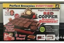 Red Copper Brownie Bonanza Nonstick Bake Pan Set As Seen On TV + Recipe Booklet