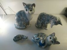 Staffordshire Just Cats & Co Grey Cats x 4 Very Nice good condition