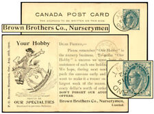 Canada 1¢ Psc Brown Brothers Nurseries Aug 1902 Webb P17