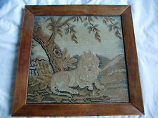 Antique Victorian Woolwork Lion  Embroidery - Large 54cm x 52cm