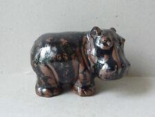 presse papier, sculpture animalière en grès vernissé, hippopotame, signée RC