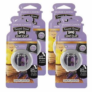 Yankee Candle Car Freshener Smart-Scent Vent Clips, 4-PACK (Lemon Lavender)