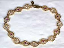 """Boxed 9ct Gold & .40 carat 8 Ruby Set Pierced Leaf Link 7 5/8"""" Tennis Bracelet"""