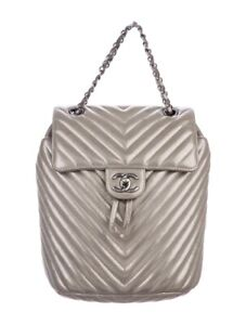 CHANEL Silver/Gold Chevron Quilted Small Urban Spirit Backpack CC Chain