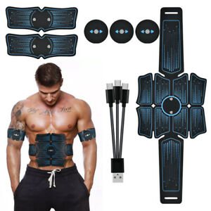 USB Rechargeable 8 Pads EMS Abs Stimulator Fitness Gear Muscle Abdominal Trainer