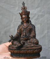 "6 ""ancien bouddhisme tibétain en bronze, siège de lotus Padmasambhava"